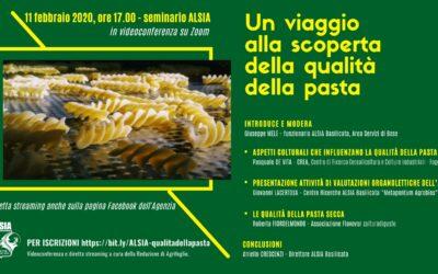 """""""Un viaggio alla scoperta della qualità della pasta"""". L'11 seminario ALSIA in videoconferenza"""