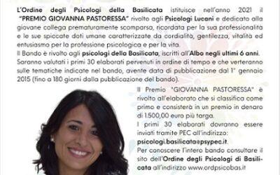 """L'Ordine degli Psicologi della Basilicata presenta il """"Premio Giovanna Pastoressa"""""""